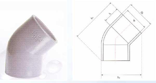 Pressure Pipe Fittings - Elbow 45º (U-PVC) - Pipeforce